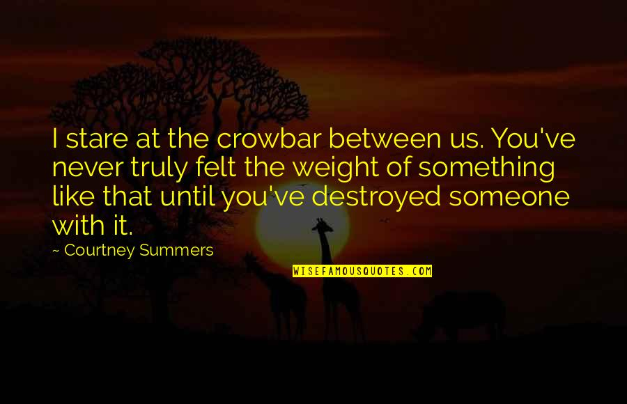 Crime Partners Quotes By Courtney Summers: I stare at the crowbar between us. You've