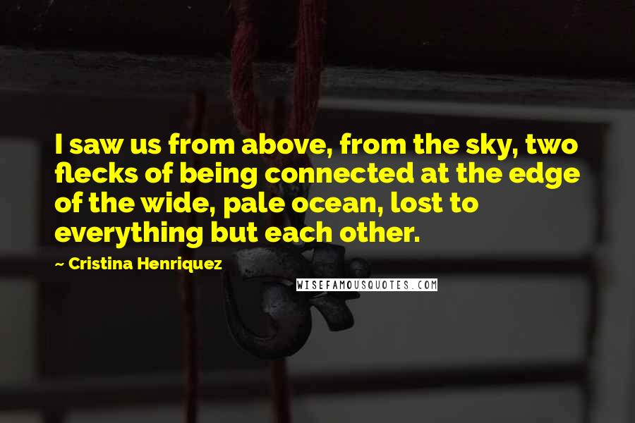 Cristina Henriquez quotes: I saw us from above, from the sky, two flecks of being connected at the edge of the wide, pale ocean, lost to everything but each other.