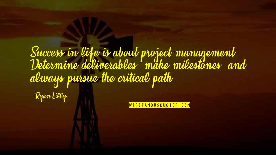 Critical Quotes By Ryan Lilly: Success in life is about project management. Determine