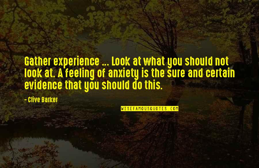Croesus Quotes By Clive Barker: Gather experience ... Look at what you should