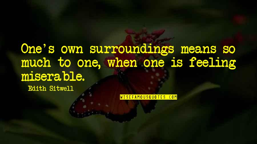 Cromwell Film Quotes By Edith Sitwell: One's own surroundings means so much to one,