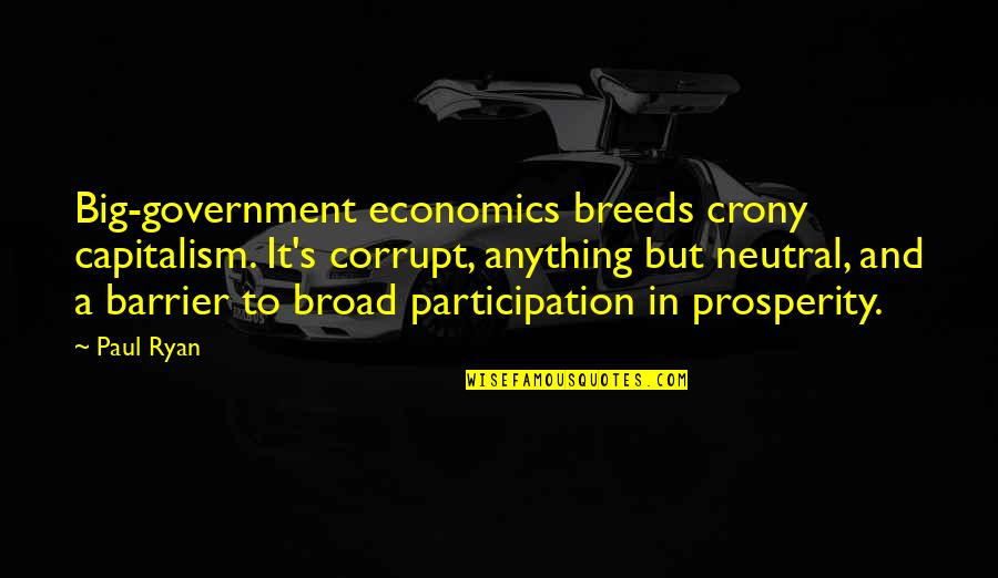 Crony Quotes By Paul Ryan: Big-government economics breeds crony capitalism. It's corrupt, anything