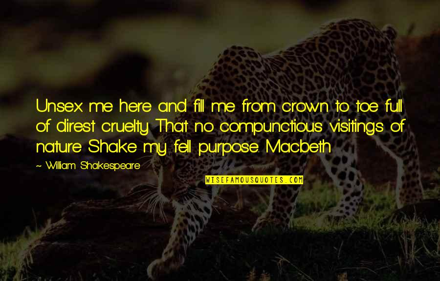 Crown'd Quotes By William Shakespeare: Unsex me here and fill me from crown