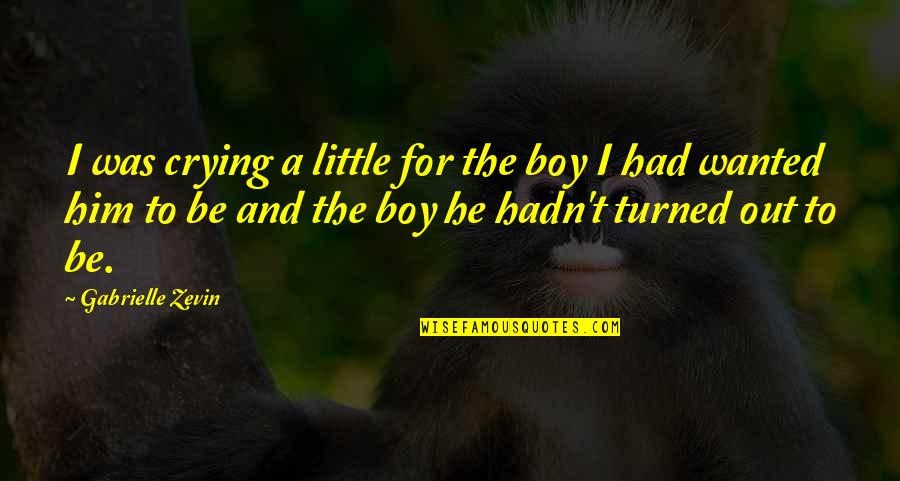 Crying For Him Quotes By Gabrielle Zevin: I was crying a little for the boy