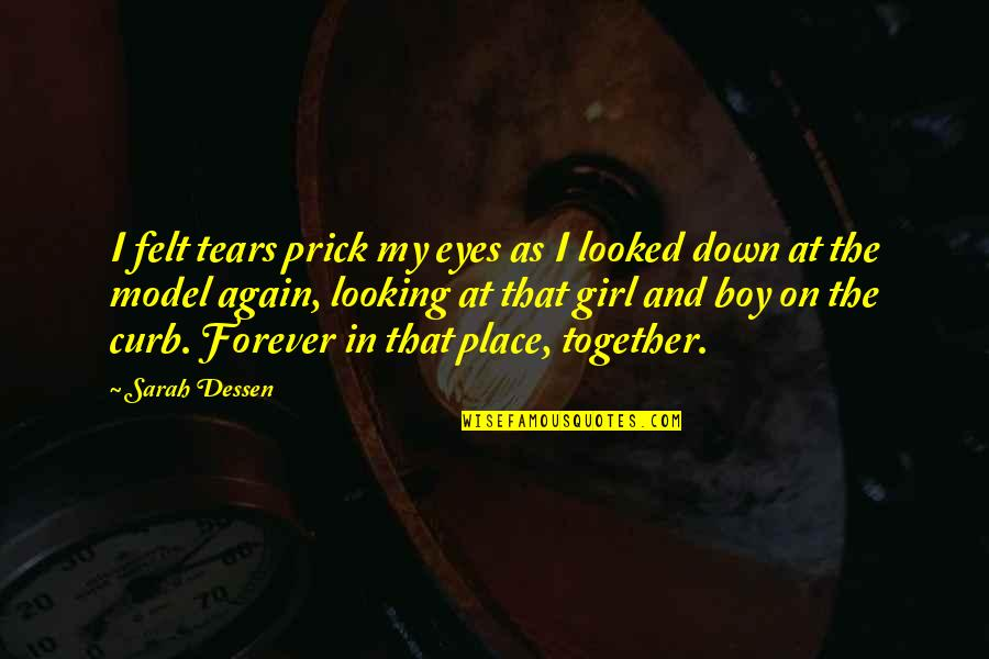 Crying Over A Girl Quotes By Sarah Dessen: I felt tears prick my eyes as I