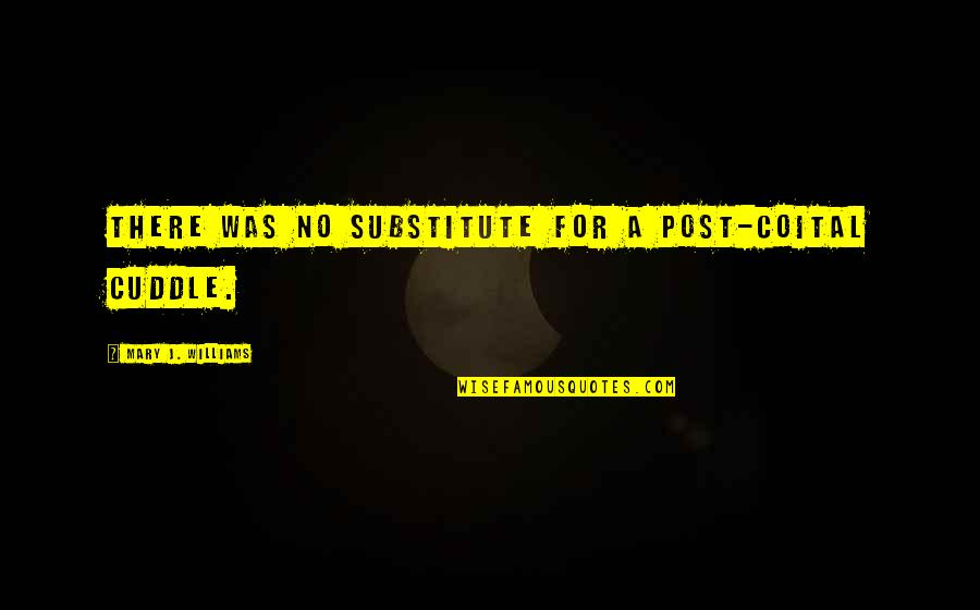 Cuddle Up Quotes By Mary J. Williams: There was no substitute for a post-coital cuddle.