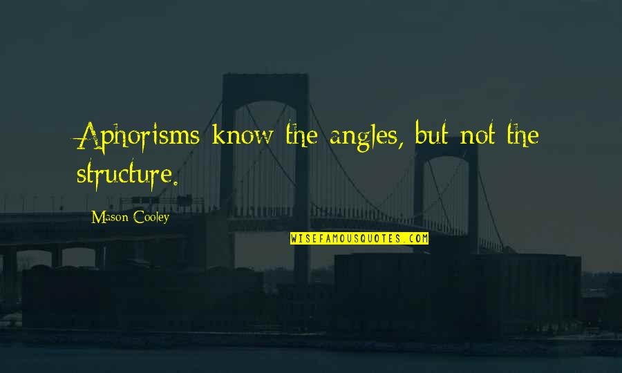 Cuddling Couple Quotes By Mason Cooley: Aphorisms know the angles, but not the structure.