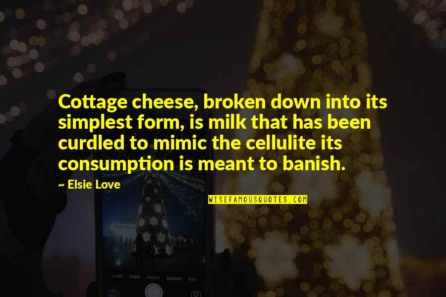 Curdled Quotes By Elsie Love: Cottage cheese, broken down into its simplest form,
