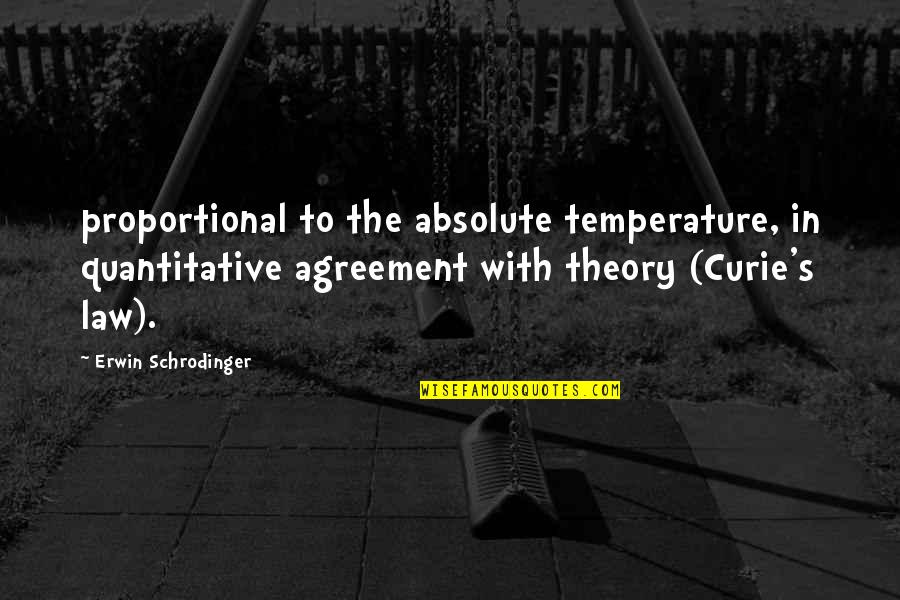 Curie's Quotes By Erwin Schrodinger: proportional to the absolute temperature, in quantitative agreement