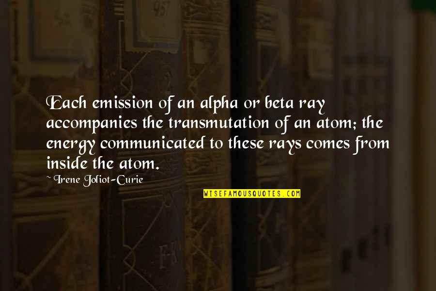 Curie's Quotes By Irene Joliot-Curie: Each emission of an alpha or beta ray