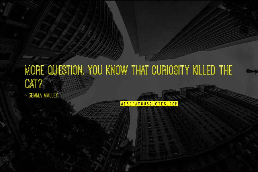 Curiosity And Cat Quotes By Gemma Malley: More question. You know that curiosity killed the
