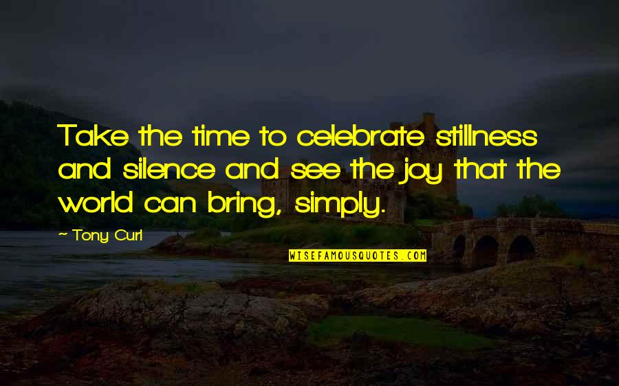 Curl Quotes By Tony Curl: Take the time to celebrate stillness and silence