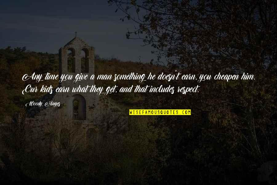 Curricle Quotes By Woody Hayes: Any time you give a man something he