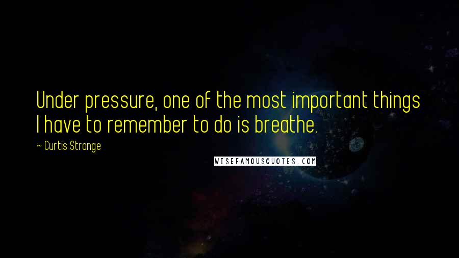 Curtis Strange quotes: Under pressure, one of the most important things I have to remember to do is breathe.