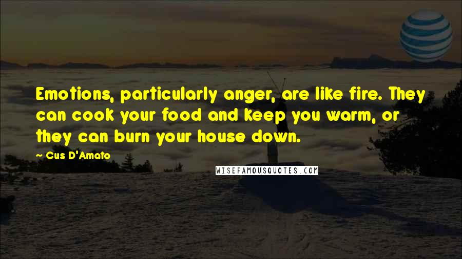 Cus D'Amato quotes: Emotions, particularly anger, are like fire. They can cook your food and keep you warm, or they can burn your house down.