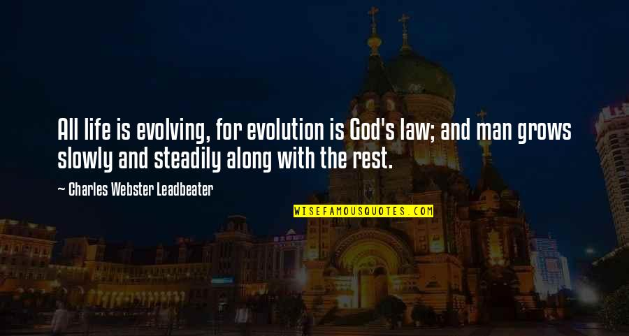 Customer Service Representative Quotes By Charles Webster Leadbeater: All life is evolving, for evolution is God's
