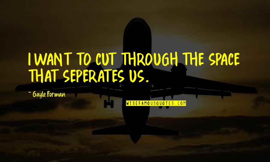 Cut Off Time Quotes By Gayle Forman: I WANT TO CUT THROUGH THE SPACE THAT
