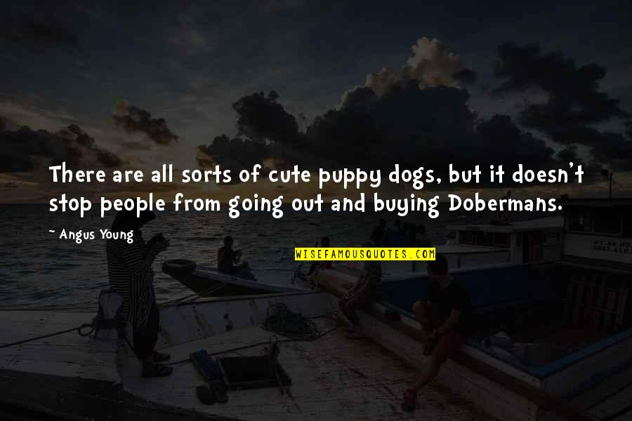 Cute And Quotes By Angus Young: There are all sorts of cute puppy dogs,