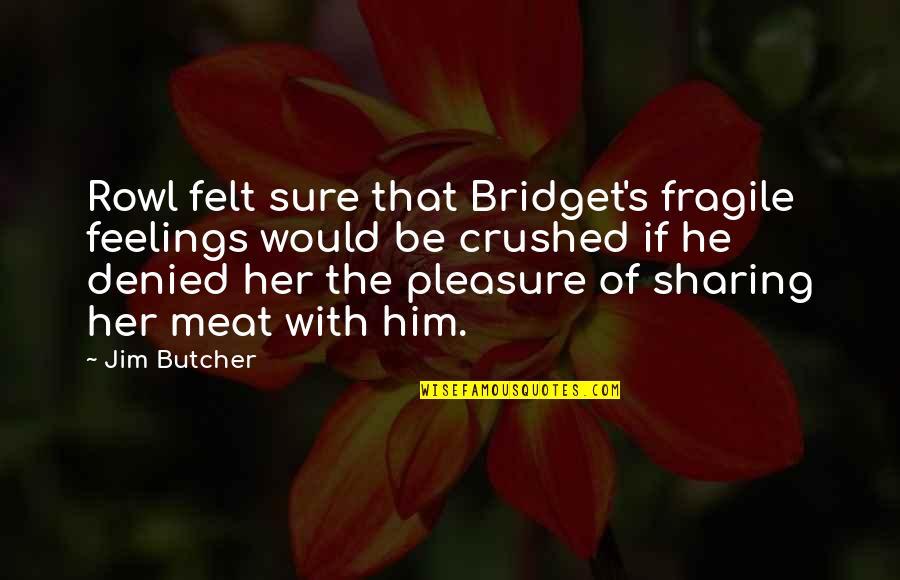 Cute But Corny Love Quotes By Jim Butcher: Rowl felt sure that Bridget's fragile feelings would