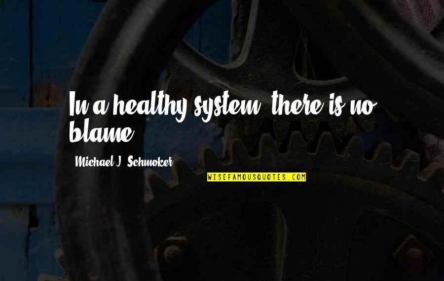 Cute But Sassy Quotes By Michael J. Schmoker: In a healthy system, there is no blame.