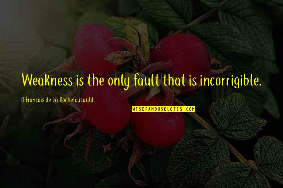 Cute Laboratory Quotes By Francois De La Rochefoucauld: Weakness is the only fault that is incorrigible.
