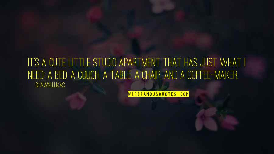 Cute Little Quotes By Shawn Lukas: It's a cute little studio apartment that has