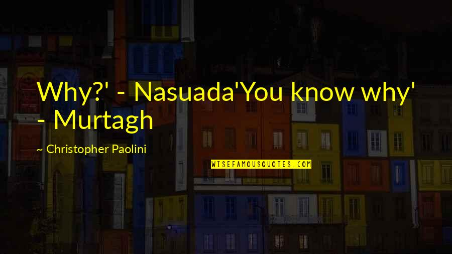 Cute T Shirt Quotes By Christopher Paolini: Why?' - Nasuada'You know why' - Murtagh