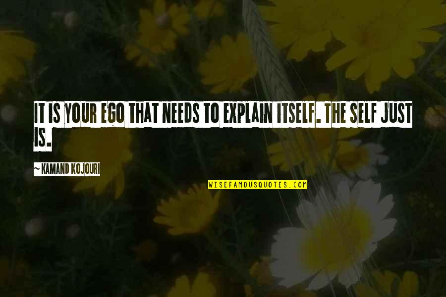 Cutters Quotes By Kamand Kojouri: It is your ego that needs to explain