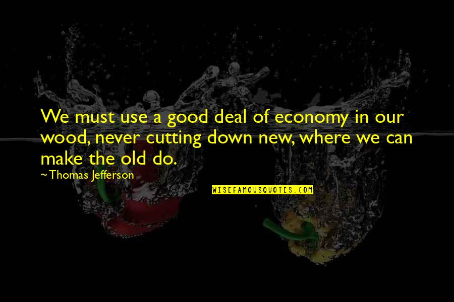 Cutting Wood Quotes By Thomas Jefferson: We must use a good deal of economy