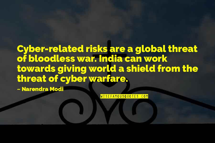 Cyber Quotes By Narendra Modi: Cyber-related risks are a global threat of bloodless