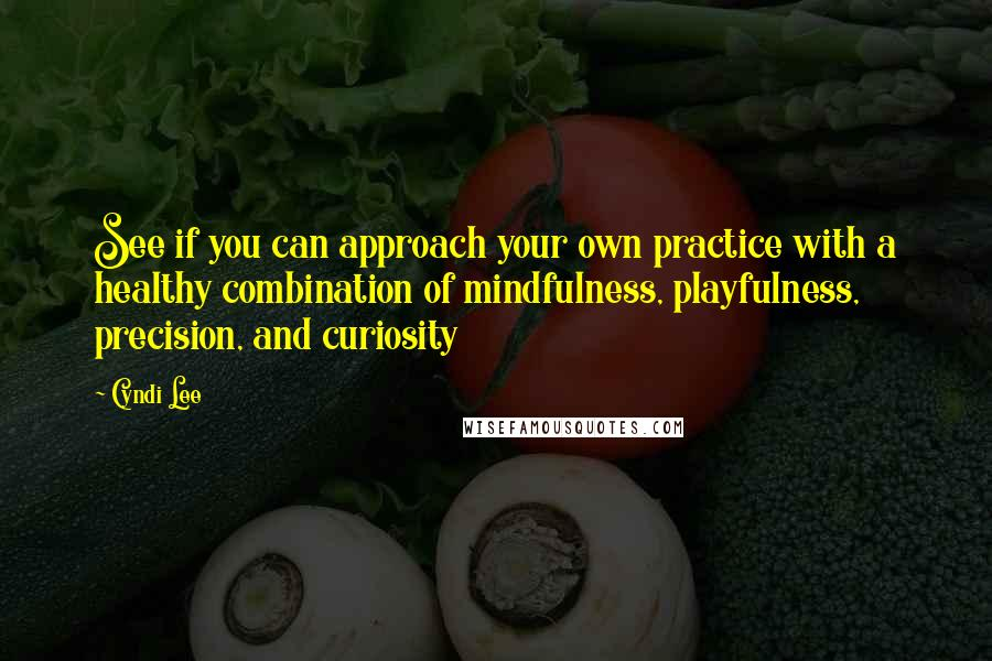 Cyndi Lee quotes: See if you can approach your own practice with a healthy combination of mindfulness, playfulness, precision, and curiosity