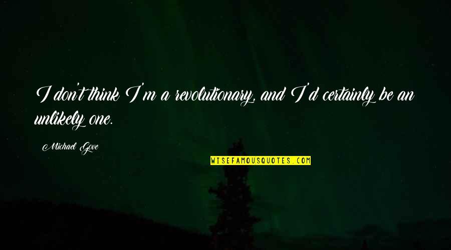 D.a.m.a Quotes By Michael Gove: I don't think I'm a revolutionary, and I'd