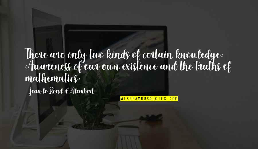 D Alembert Quotes By Jean Le Rond D'Alembert: There are only two kinds of certain knowledge:
