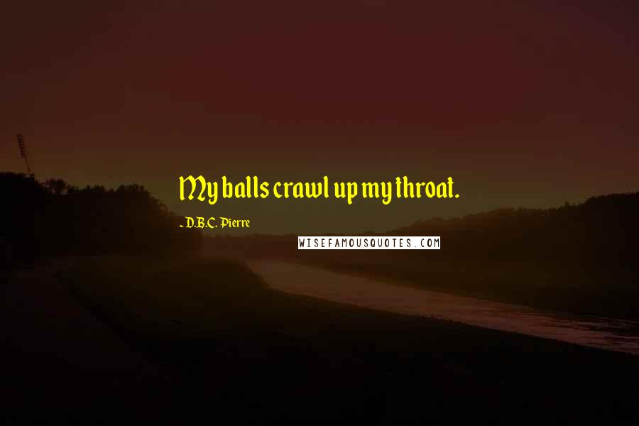 D.B.C. Pierre quotes: My balls crawl up my throat.