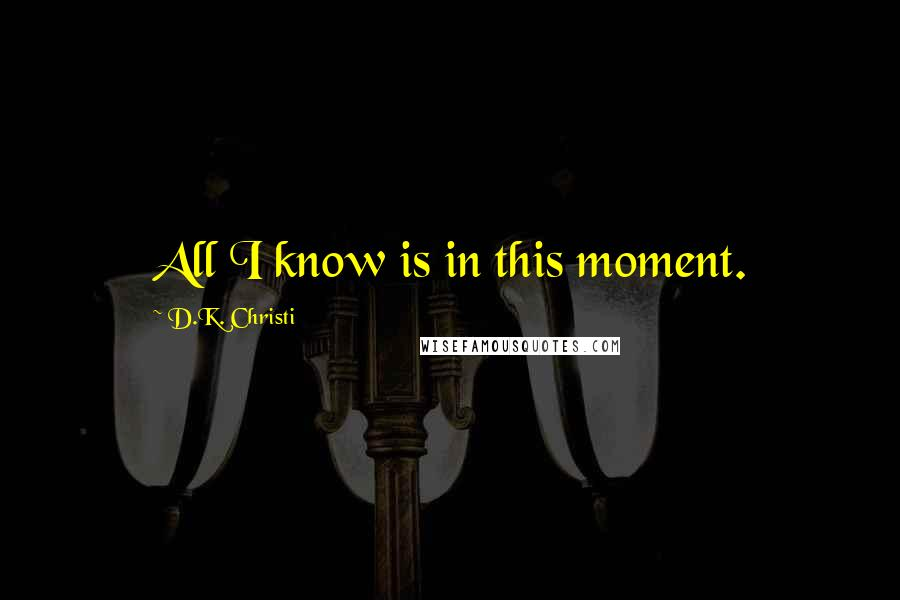 D.K. Christi quotes: All I know is in this moment.