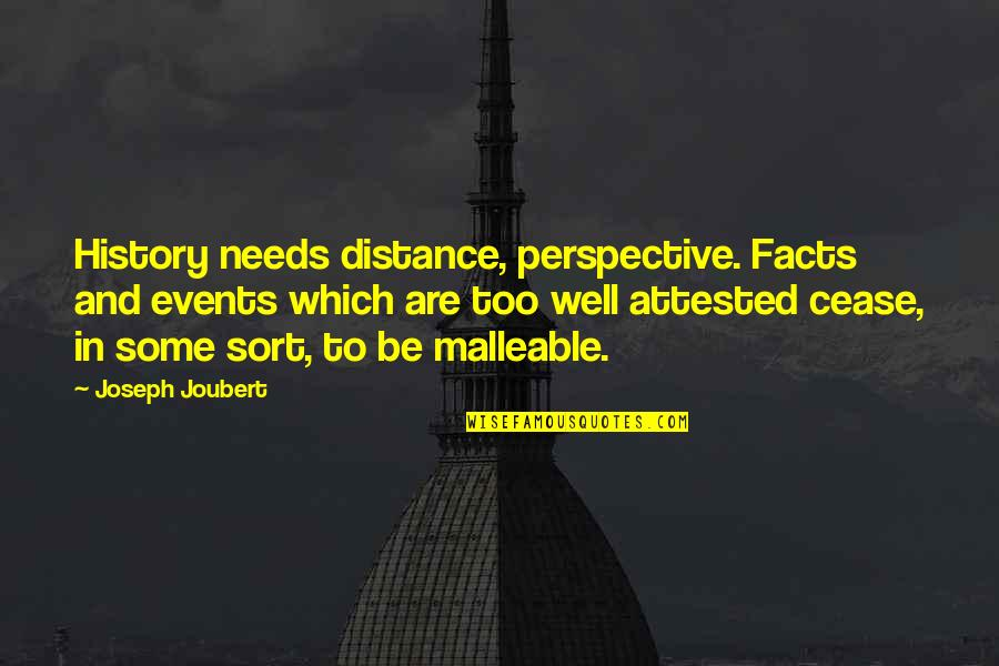Dachau Survivors Quotes By Joseph Joubert: History needs distance, perspective. Facts and events which