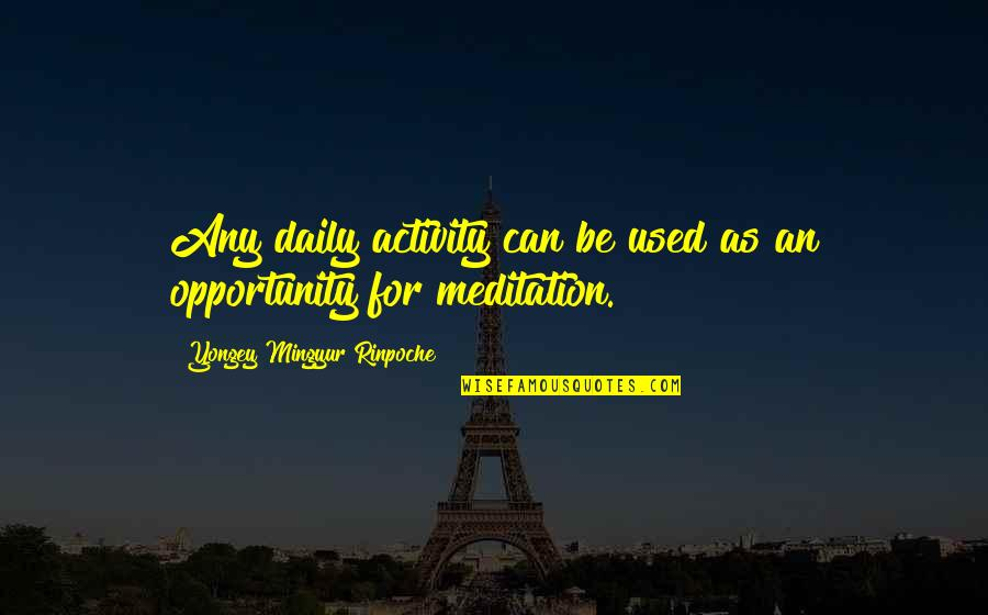 Daily Activities Quotes By Yongey Mingyur Rinpoche: Any daily activity can be used as an