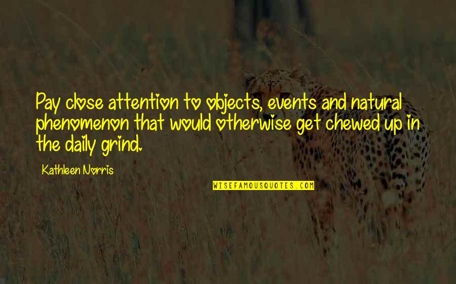 Daily Grind Quotes By Kathleen Norris: Pay close attention to objects, events and natural