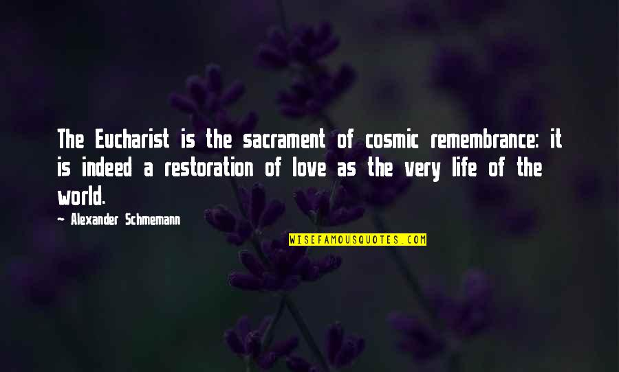Daily Usage Quotes By Alexander Schmemann: The Eucharist is the sacrament of cosmic remembrance: