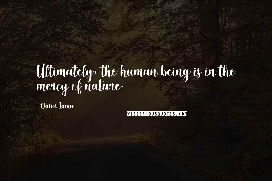 Dalai Lama quotes: Ultimately, the human being is in the mercy of nature.