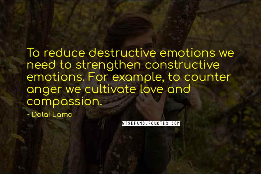 Dalai Lama quotes: To reduce destructive emotions we need to strengthen constructive emotions. For example, to counter anger we cultivate love and compassion.