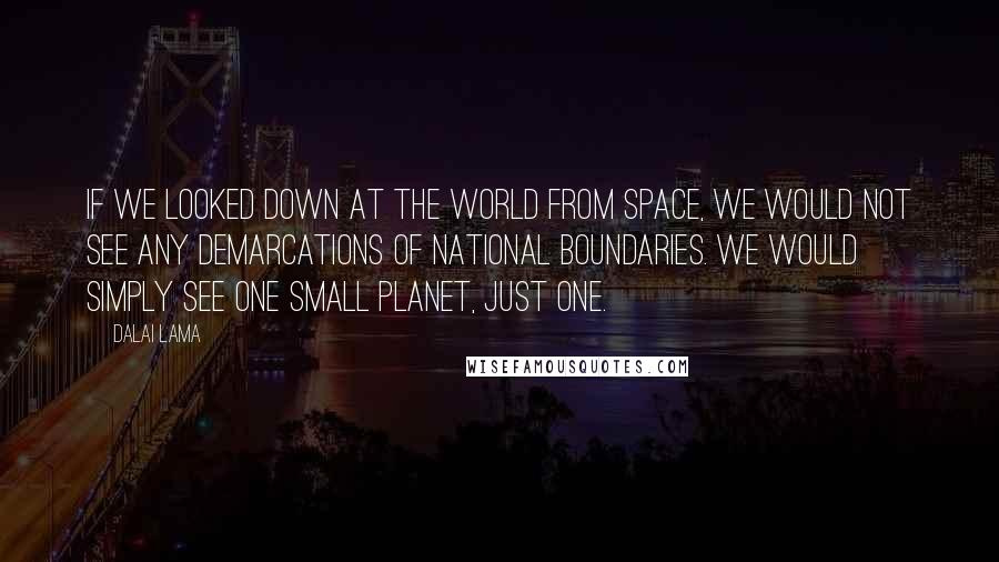 Dalai Lama quotes: If we looked down at the world from space, we would not see any demarcations of national boundaries. We would simply see one small planet, just one.