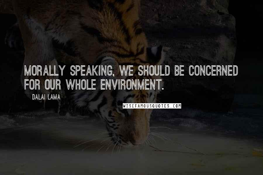 Dalai Lama quotes: Morally speaking, we should be concerned for our whole environment.