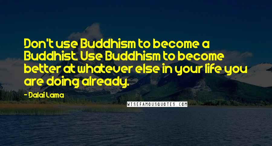 Dalai Lama quotes: Don't use Buddhism to become a Buddhist. Use Buddhism to become better at whatever else in your life you are doing already.