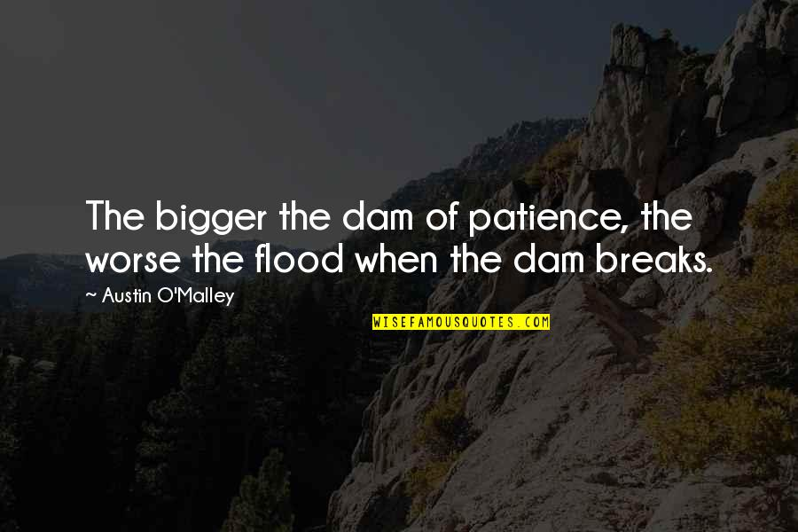 Dam Quotes By Austin O'Malley: The bigger the dam of patience, the worse