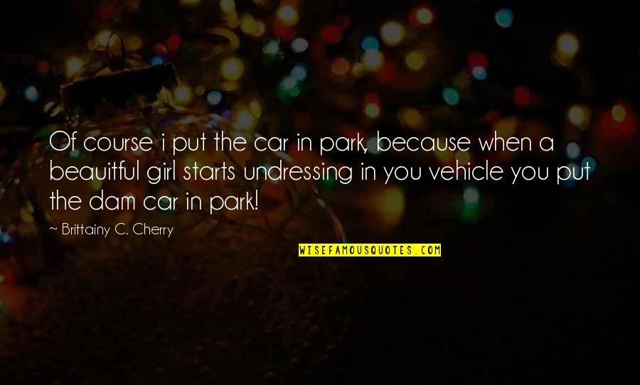 Dam Quotes By Brittainy C. Cherry: Of course i put the car in park,