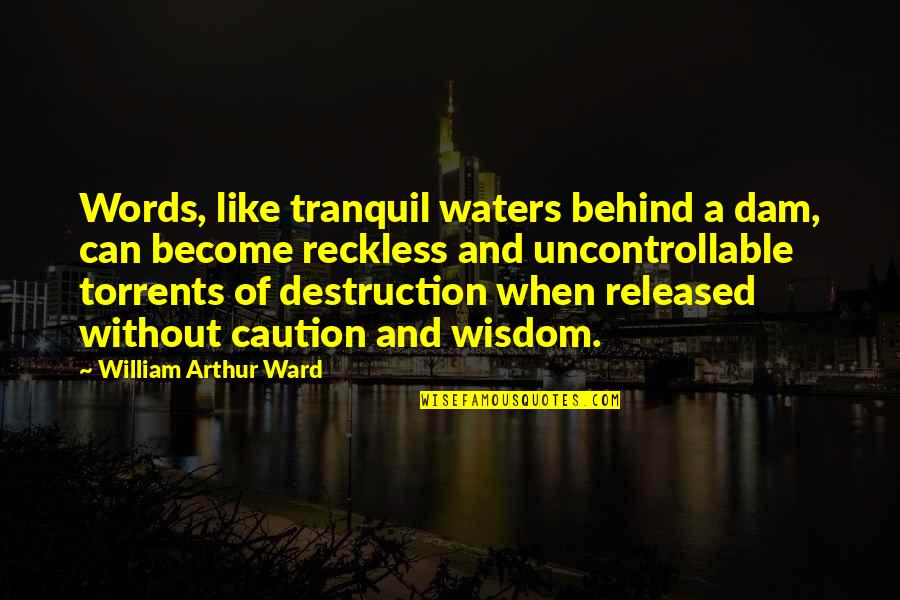 Dam Quotes By William Arthur Ward: Words, like tranquil waters behind a dam, can