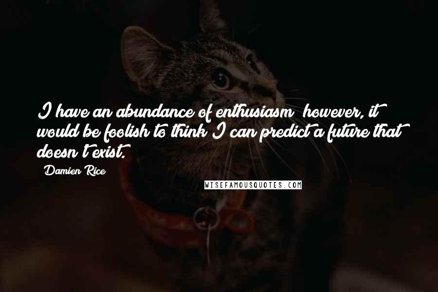 Damien Rice quotes: I have an abundance of enthusiasm; however, it would be foolish to think I can predict a future that doesn't exist.