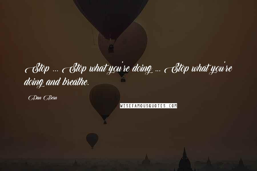 Dan Bern quotes: Stop ... Stop what you're doing ... Stop what you're doing and breathe.