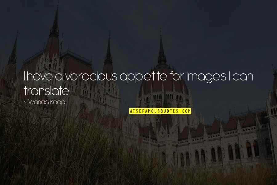 Dan Haseltine Quotes By Wanda Koop: I have a voracious appetite for images I